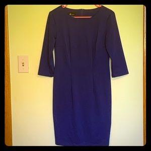 Blue 3/4 sleeve midi dress